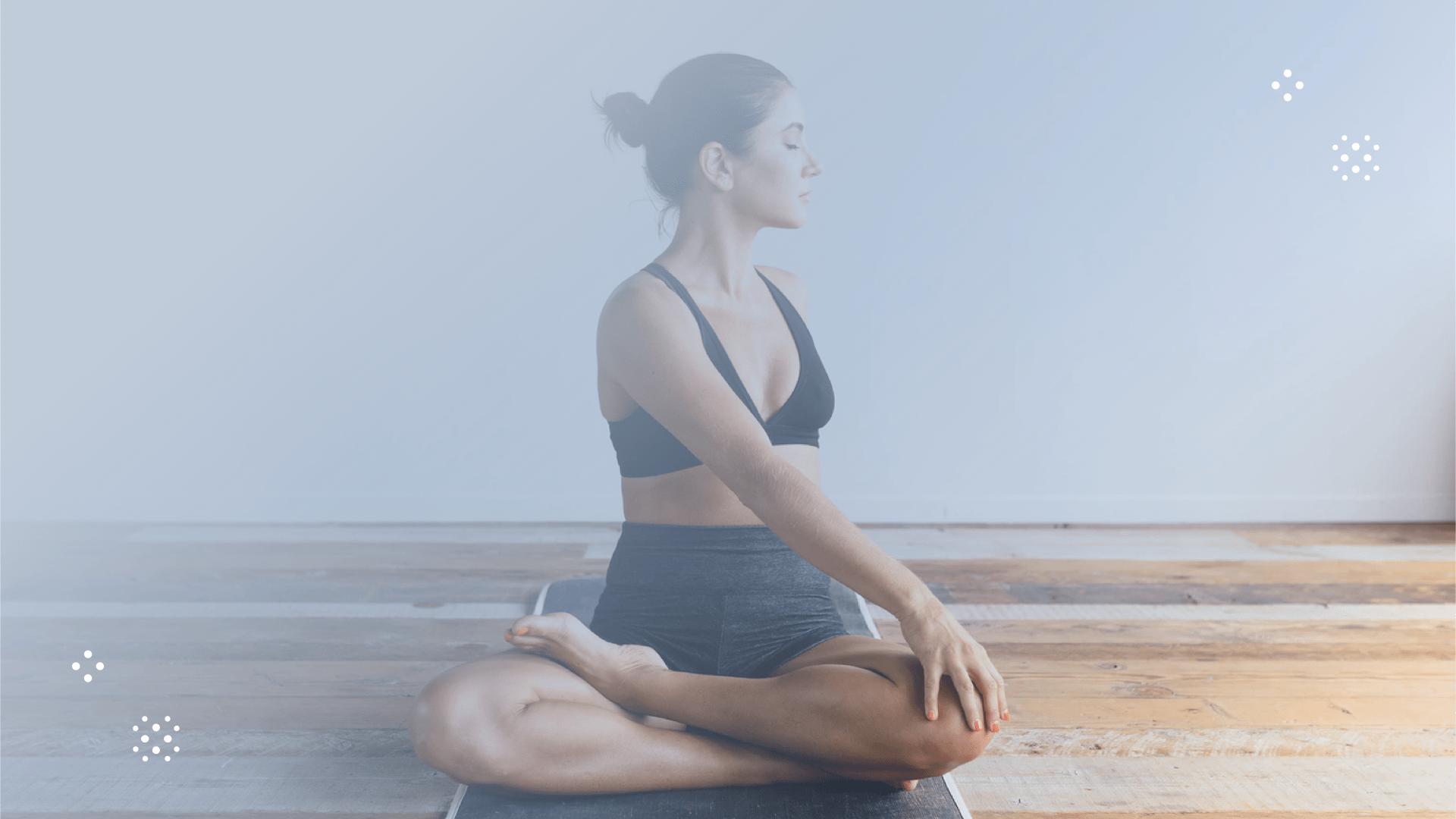 woman in yoga pose facing sideways