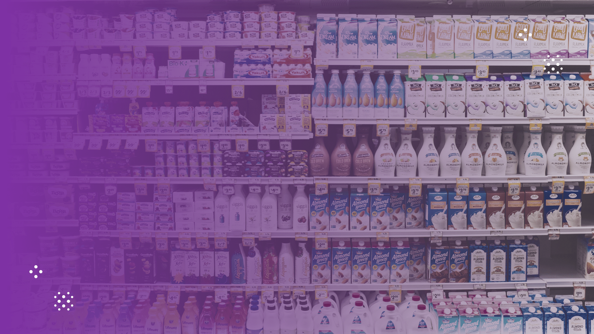 products in the refrigerated section of a grocery store