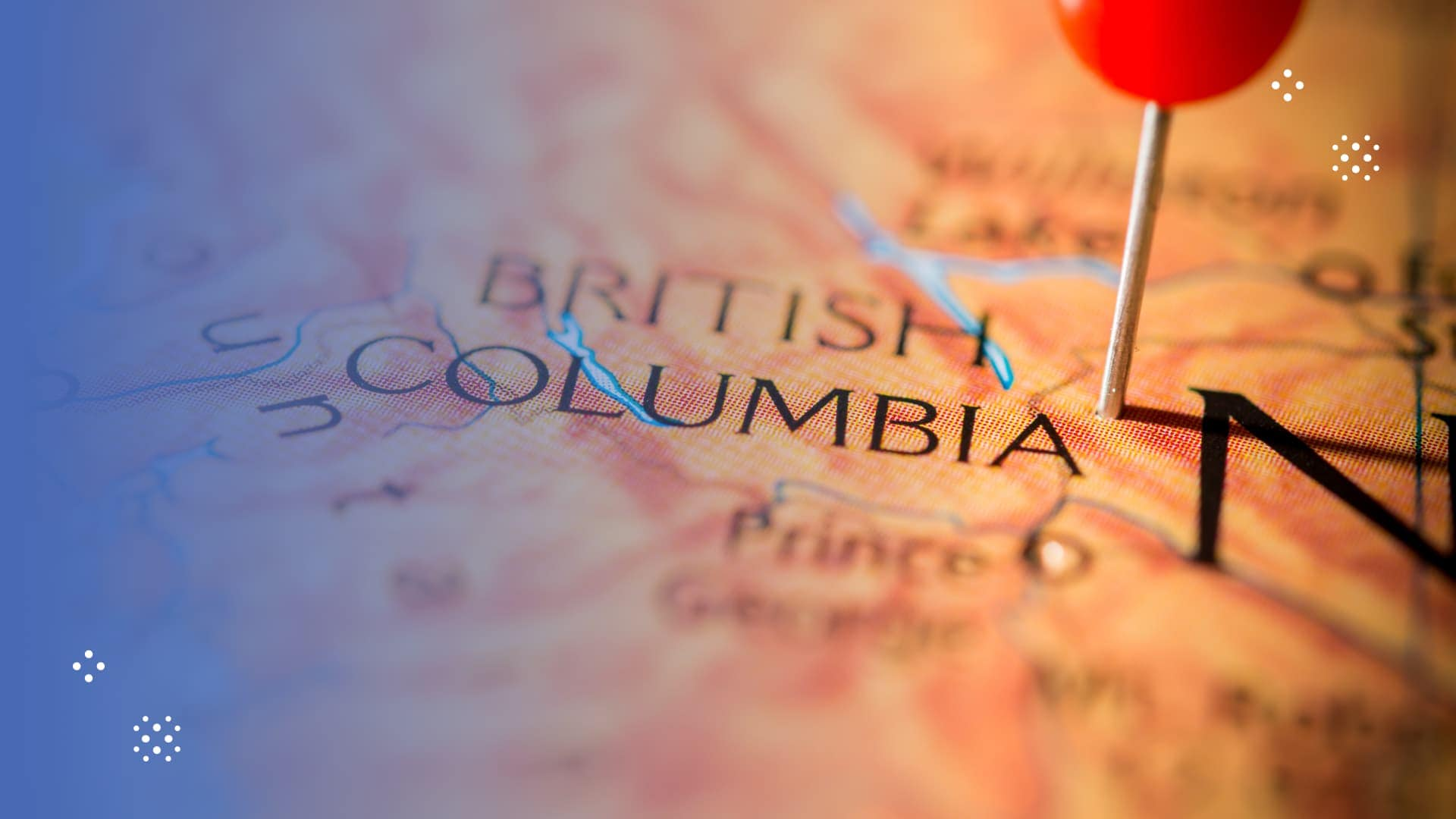 pin dropped on map of British Columbia